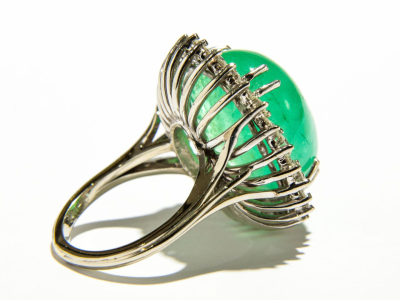 Estate - 27 Carat Estate Emerald Cocktail Ring - image #2