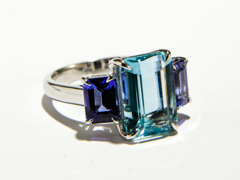 Custom - Aqua Tanzanite Ring