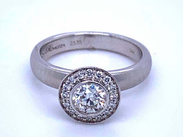 Engagement - 14KW Bezel Set Diamond Halo Engagement Ring