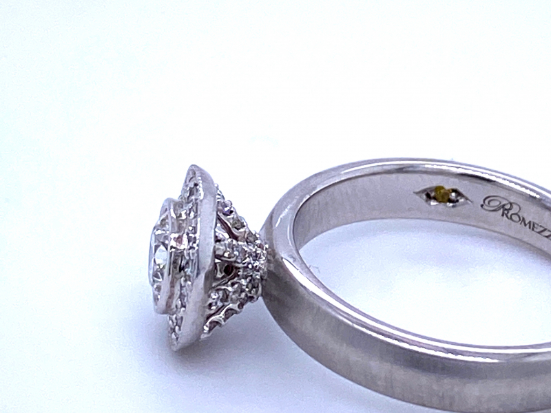 Engagement - 14KW Bezel Set Diamond Halo Engagement Ring - image #2