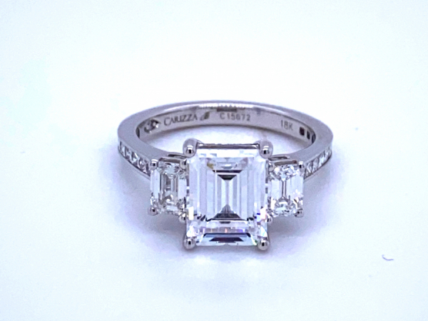 Engagement - 18KW 3-Stone Emerald Cut Diamond Ring Setting