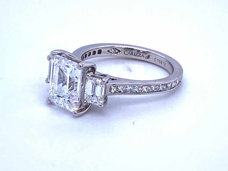 Engagement - 18KW 3-Stone Emerald Cut Diamond Ring Setting - image #2