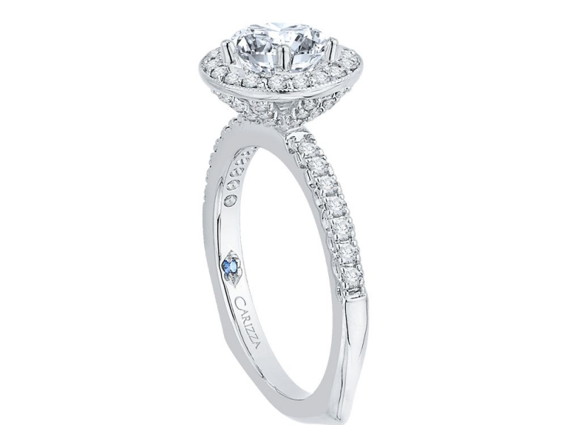 Engagement - 18K White Gold 1/2 Carat Diamond Semi Mount Engagement Ring - image #3