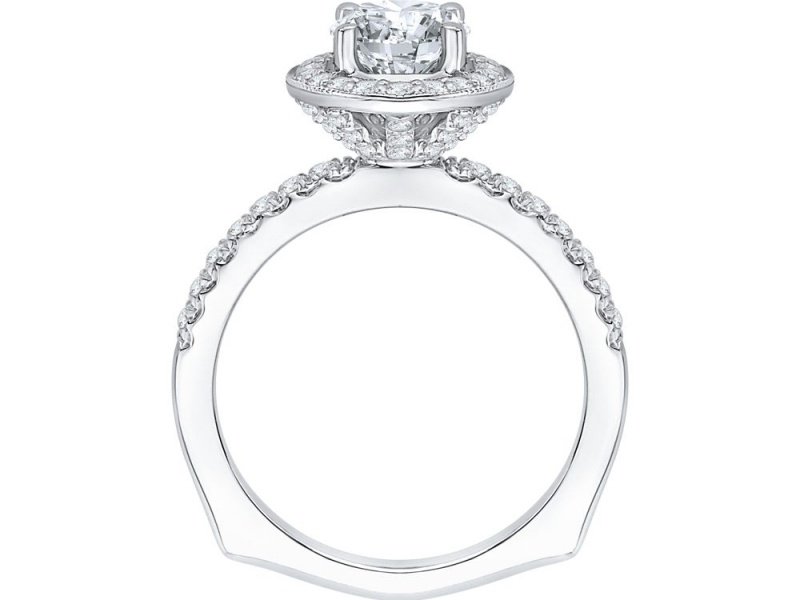 Engagement - 18K White Gold 1/2 Carat Diamond Semi Mount Engagement Ring - image #4