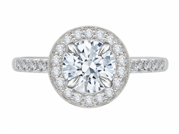 18K White Gold 1/2 Carat Diamond Semi Mount Engagement Ring - This 18k white gold euro shank engagement ring has a total of 0.48 carat of diamond. The center features a diamond halo with a prong set round center stone. Diamonds are GH color and VS-SI clarity.