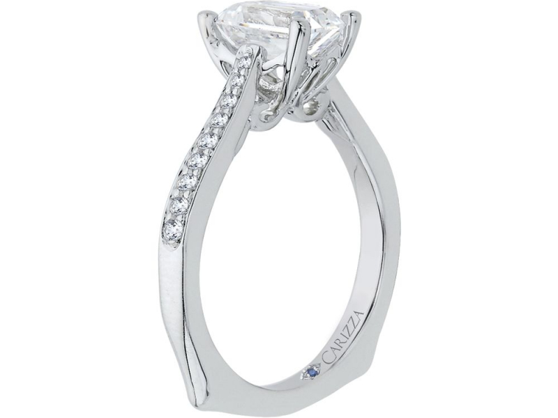 Engagement - Semi-Mount Engagement Ring with Emerald Cut Center  - image #2