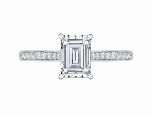 Engagement - Semi-Mount Engagement Ring with Emerald Cut Center