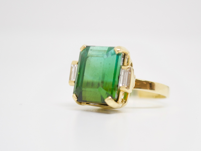 Estate-Rings - 18KY BI-COLOR TOURMALINE RING - image #2