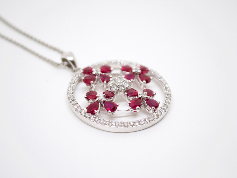 Estate-Pendants - 18KW RUBY DIAMOND FLOWER CIRCLE PENDANT - image 2