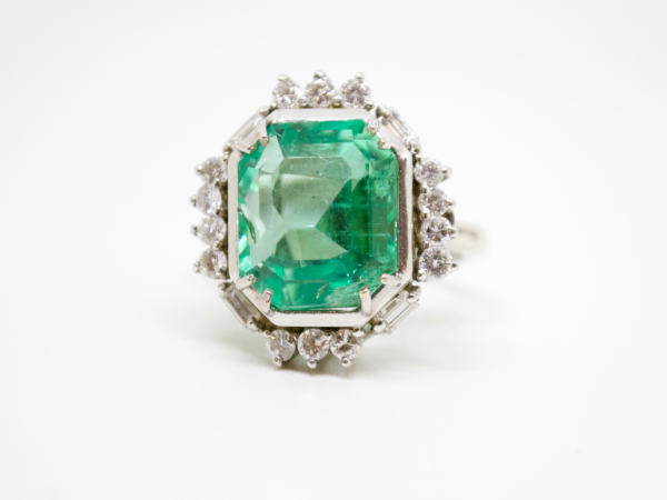Estate-Rings - 14KW 8.59CT EMERALD COCKTAIL RING