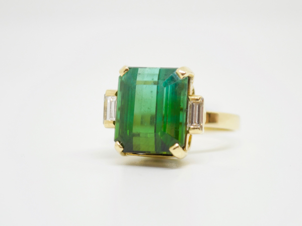 Estate-Rings - 18KY BI-COLOR TOURMALINE RING