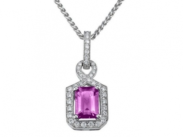 Pink Sapphire Halo Pendant - This 18k white gold pendant features a prong set emerald cut pink sapphire center totaling 1 carat, and 0.25 carats of diamond on the miligrain twist halo and bail.