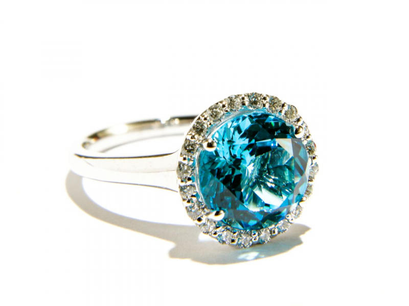 Rings - Blue Topaz Halo Ring - image #2