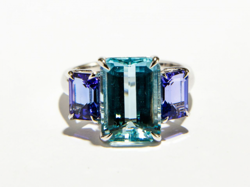 Custom - Aqua Tanzanite Ring - image 2