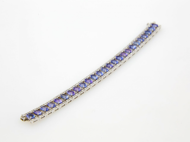 Estate - Tanzanite & Diamond Tennis Bracelet - image #2