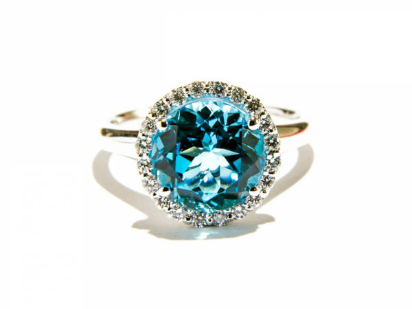 Rings - Blue Topaz Halo Ring