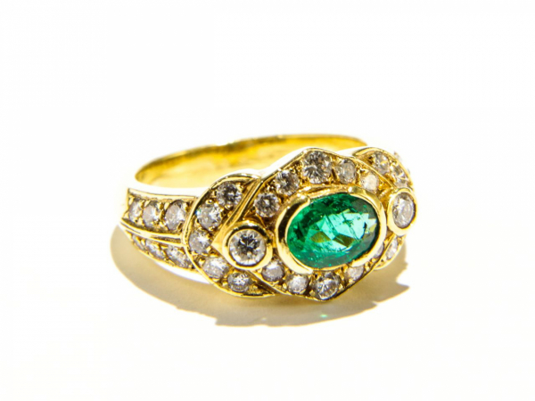Rings - Bezel Set Emerald Ring with Diamonds