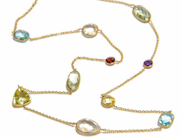 Multi Stone Station Necklace - This 14k yellow gold station necklace has a rainbow of stones in various shapes including purple & green amethyst, blue topaz, and colored quartz. Necklace is 24