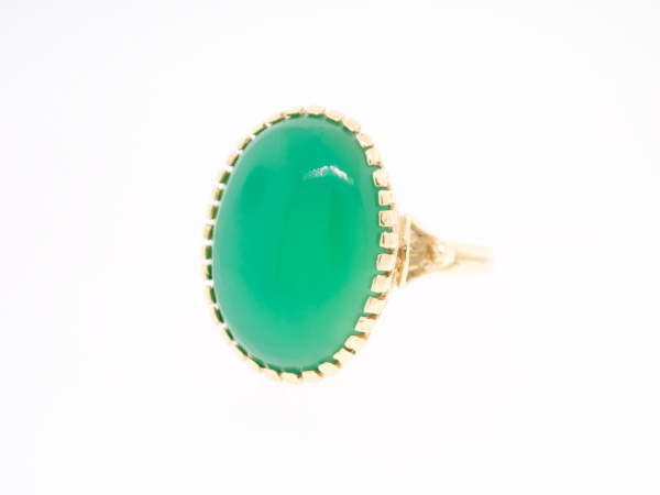 Estate-Rings - 14KY GREEN AGATE OVAL RING