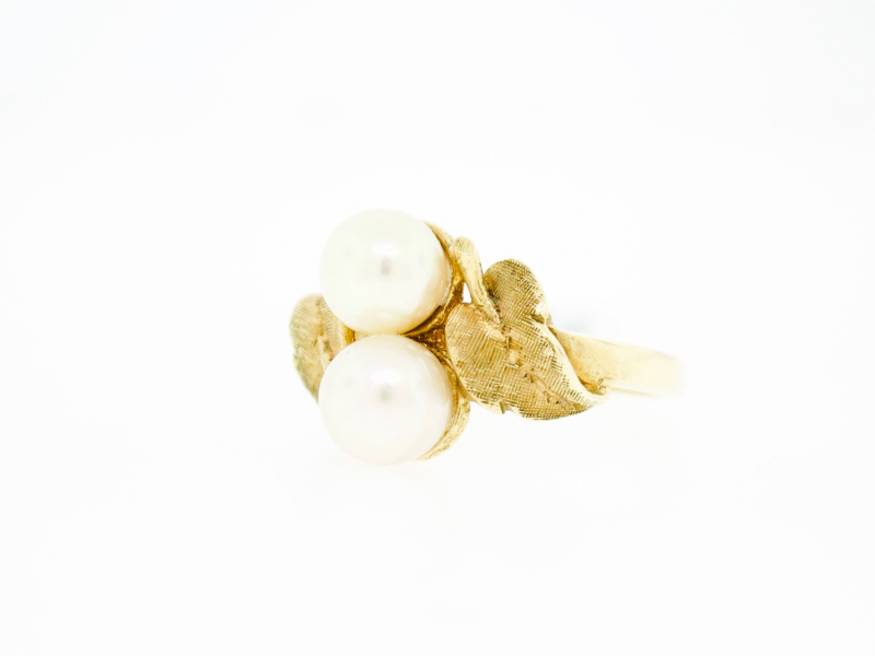 Estate-Rings - 14KY Double Pearl Leaf Ring - image #2