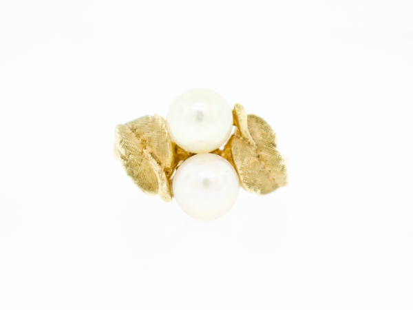 Estate-Rings - 14KY Double Pearl Leaf Ring