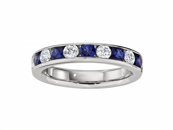 Sapphire & Diamond Channel Set Band - This sapphire and diamond band is channel set in 14k white gold weighing 4.6 grams. It holds 5x2.7mm round sapphires and 0.30 carats of diamond. Finger size is 6.5.
