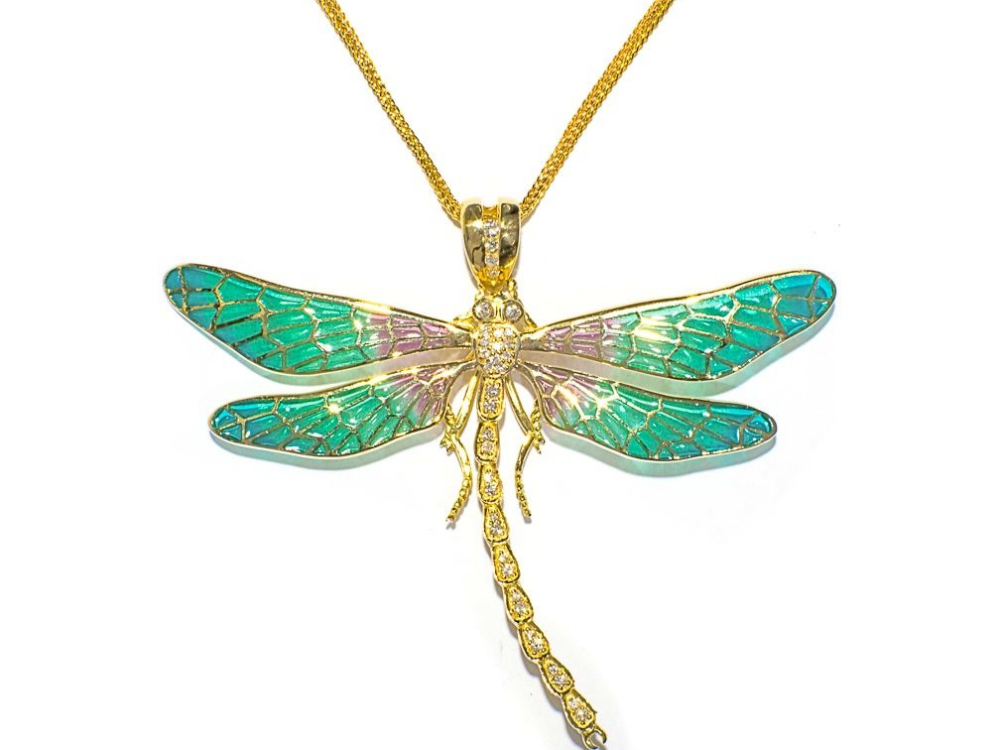 Gold and Enamel Dragonfly Necklace