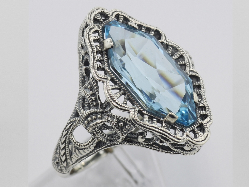 Vintage Inspired Silver Styles - Art Deco Style 4 Carat Blue Topaz Filigree Ring - Sterling Silver
