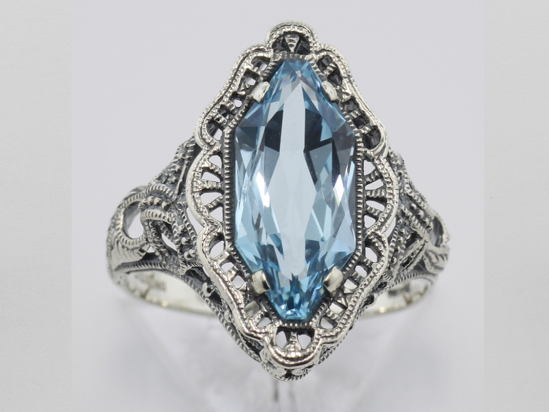 Rings - Art Deco Style 4 Carat Blue Topaz Filigree Ring - Sterling Silver - image #2