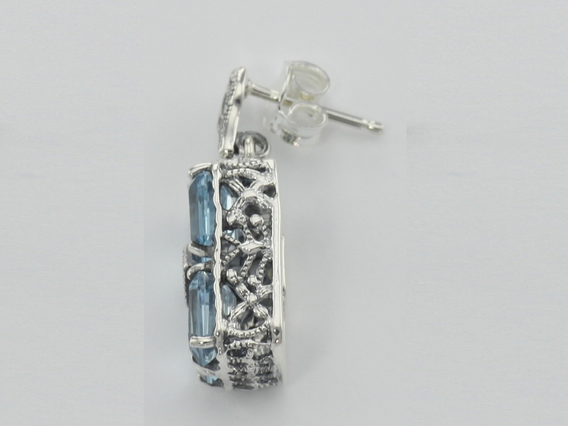 Earrings - Art Deco Style Blue Topaz w/ Diamond Earrings - Sterling Silver - image #2