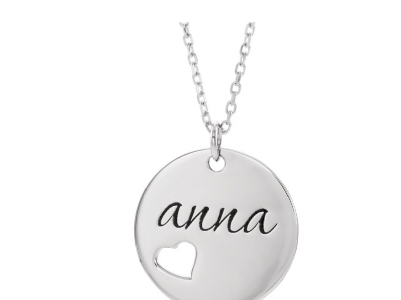 Monogram & Personalized Jewelry - 14K Pierced Heart Round Personalized Disk Necklace  - image #2
