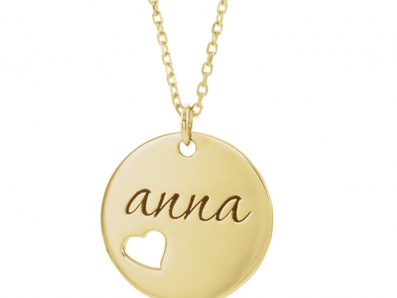 Monogram & Personalized Jewelry - 14K Pierced Heart Round Personalized Disk Necklace  - image #3