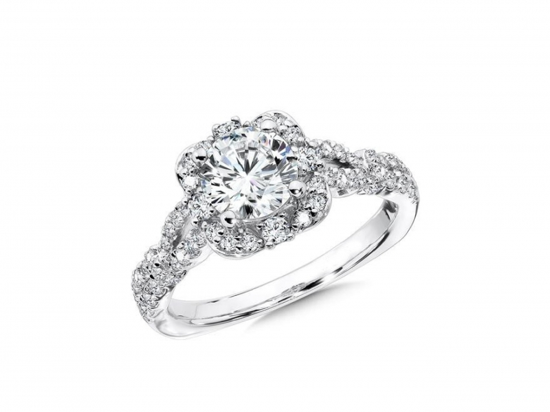 Engagement Rings - Vintage Style Floral Shape Halo Diamond Ring Mounting