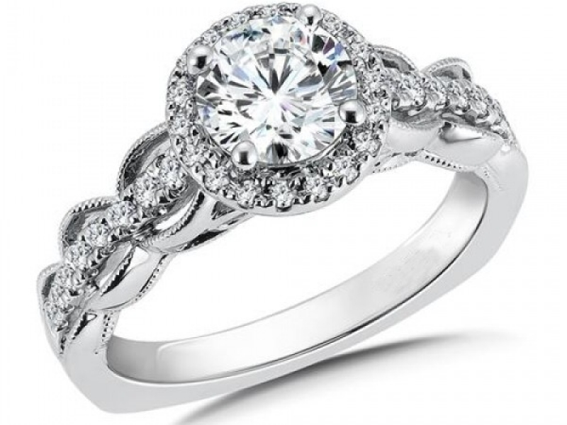 Bridal Jewelry - Vintage Inspired Halo Diamond Ring Mounting