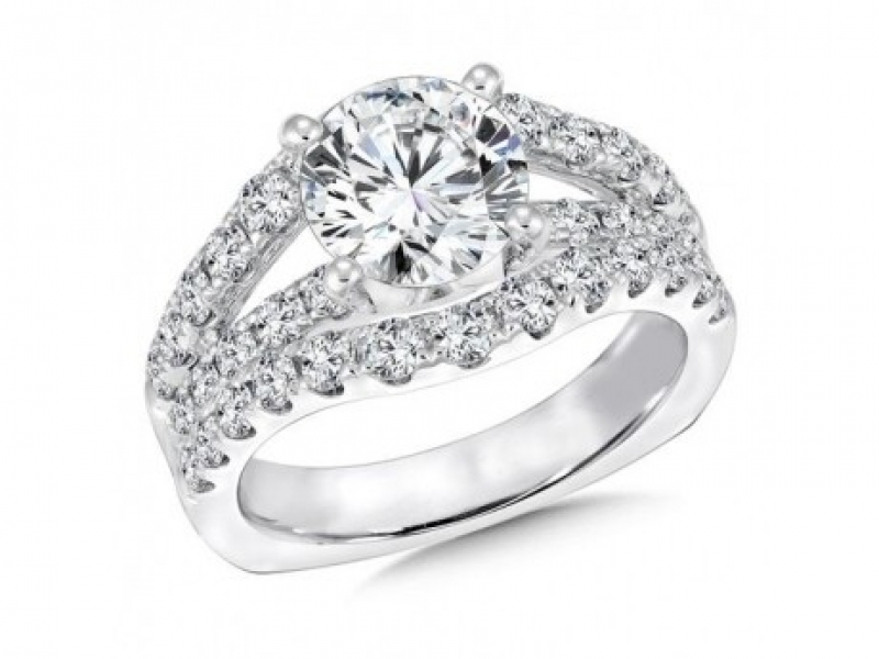 Bridal Jewelry - Raised Countour Band Diamond Ring Mouting