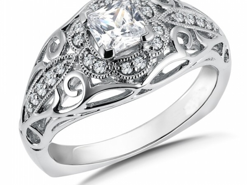 Engagement Rings - Vintage Inspired Swirl Diamond Ring Mounting