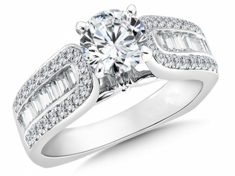 Engagement Rings - Wide Band Baguette Diamond Ring Mounting