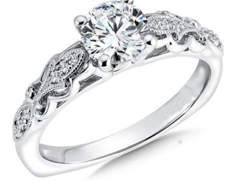 Engagement Rings - Fleur-de-lis Motif Diamond Ring Mounting