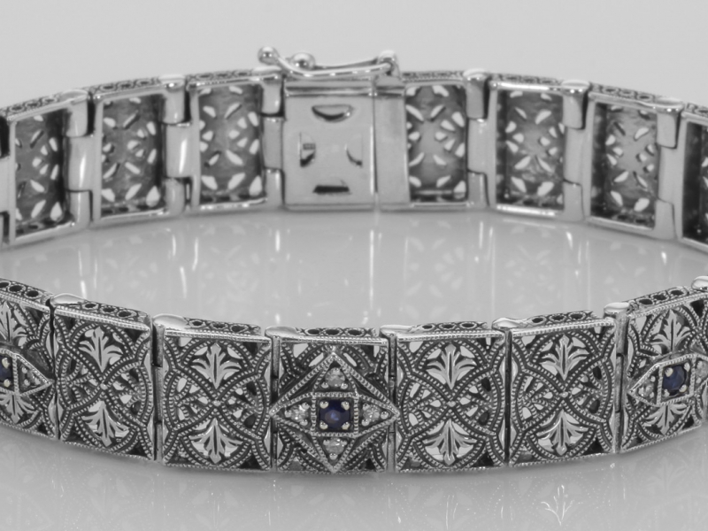 Vintage Inspired Silver Styles - Victorian Style Blue Sapphire and Diamond Filigree Link Bracelet Sterling Silver - image #2