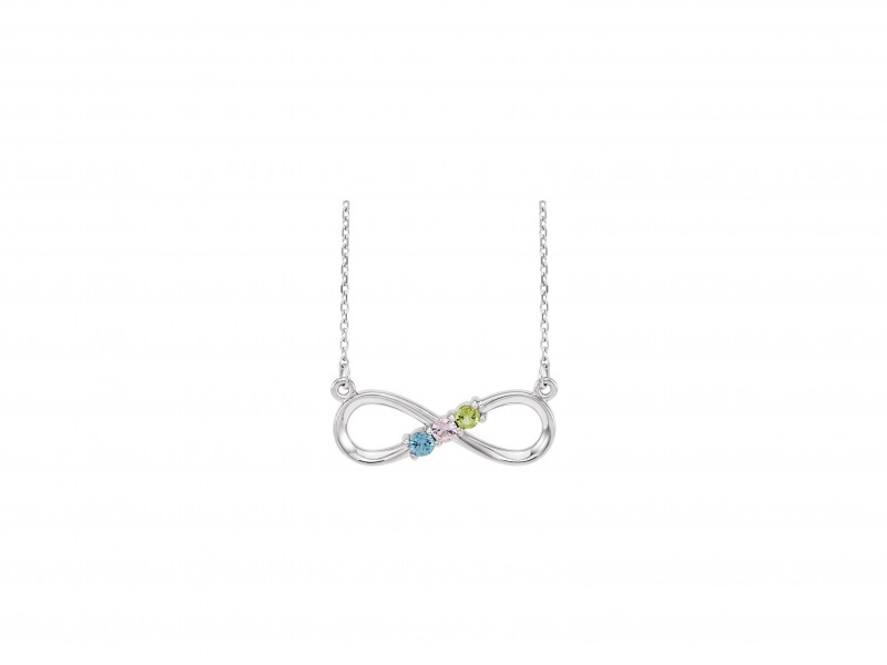 Sterling Silver Mother's Family Infinity Knot Necklace  - *Price shown is for (3) synthetic stones. Add $15 for each additional stone. Pendant can accommodate 1-5 stones.  Please contact us for pricing on genuine gemstones. 18