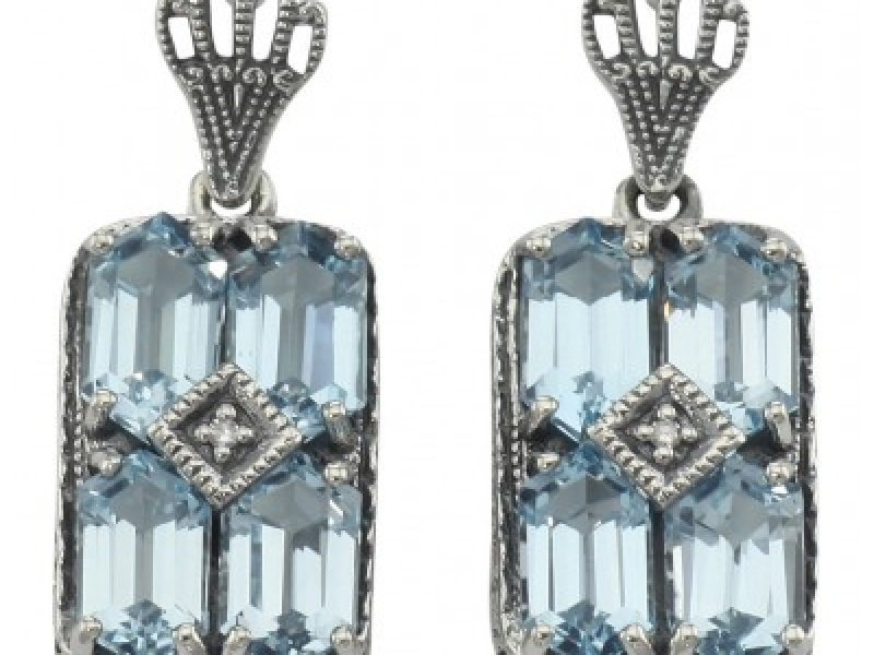 Vintage Inspired Fashion Jewelry - Sterling Silver Art Deco Style Blue Topaz w/ Diamond Earrings