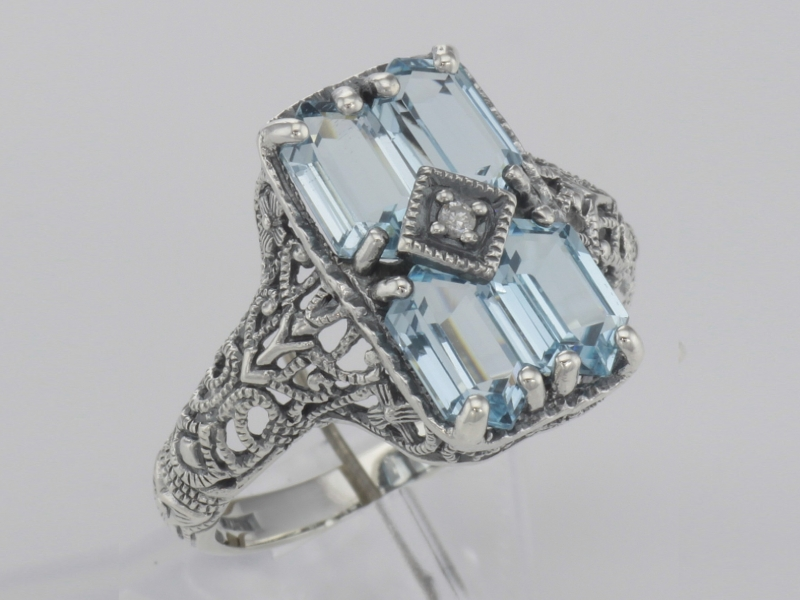 Rings - Art Deco Style 2 Carat Blue Topaz Filigree Ring with Diamond - Sterling Silver