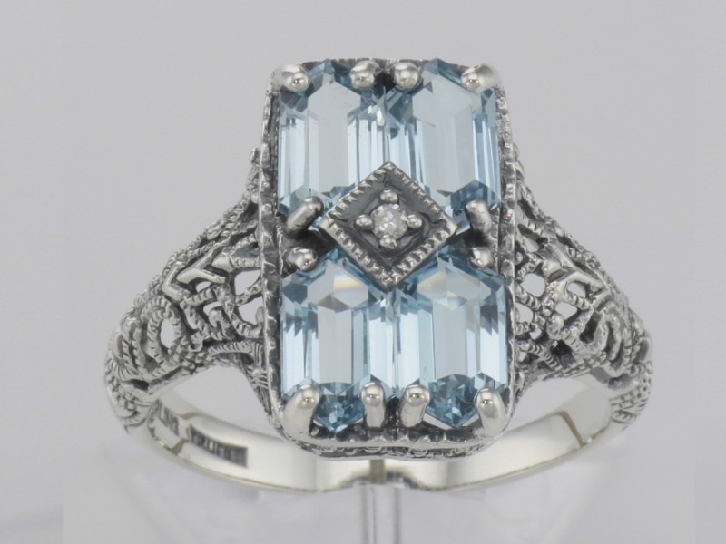 Rings - Art Deco Style 2 Carat Blue Topaz Filigree Ring with Diamond - Sterling Silver - image #2