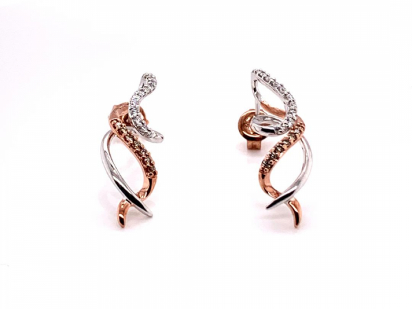 Earrings - Stylized Two-Tone Silver Earrings with Cappuccino Diamonds