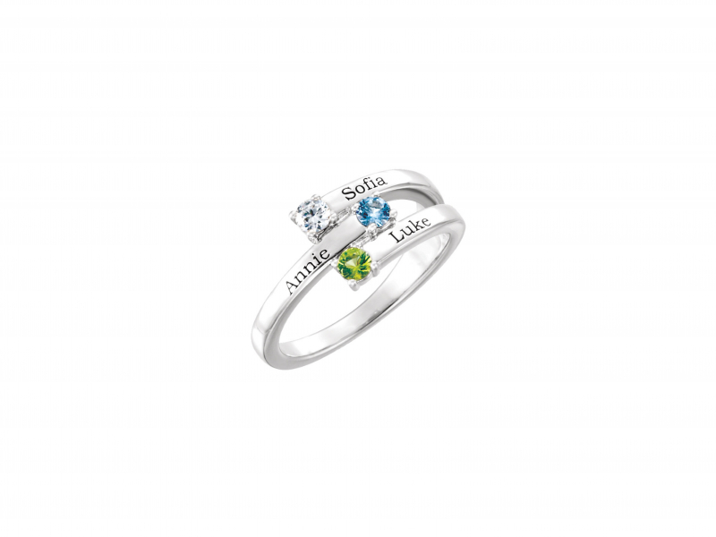 Sterling Silver Mothers Bipass Ring  - Mothers ring with synthetic stones and name engraving*