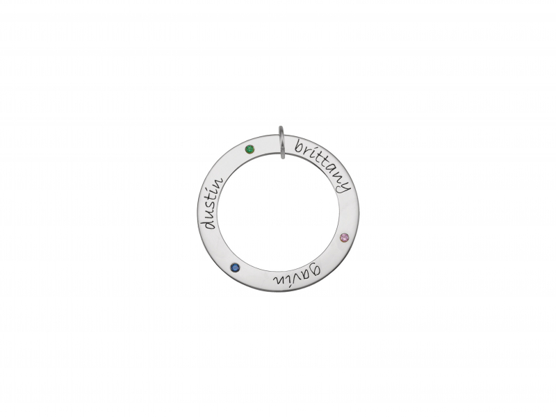 Sterling Silver Mother's Family Engravable Loop Pendant  - *Price shown is for (3) synthetic stones. Add $15 for each additional stone. Pendant can accommodate 1-5 stones.  Please contact us for pricing on genuine gemstones.