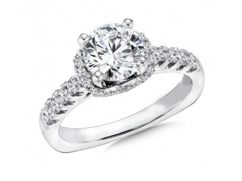 Bridal Jewelry - Halo with Fishtail-Set Side Stone Diamond Ring Mounting