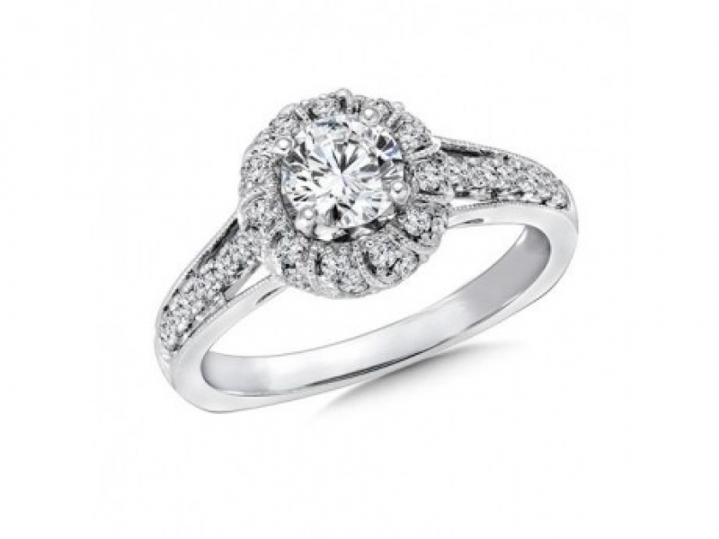 Bridal Jewelry - Twisted Rope Halo Diamond Ring Mounting