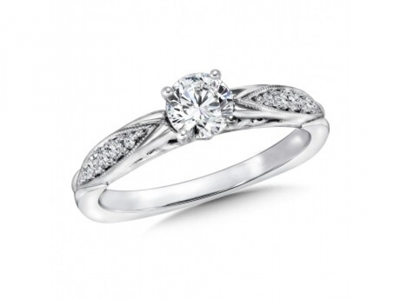 Engagement Rings - Milgrain Pinched Side Diamond Ring Mounting