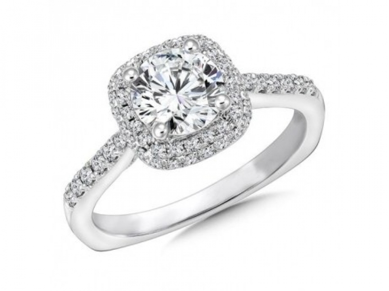 Engagement Rings - Double Cushion Halo Diamond Ring Mounting